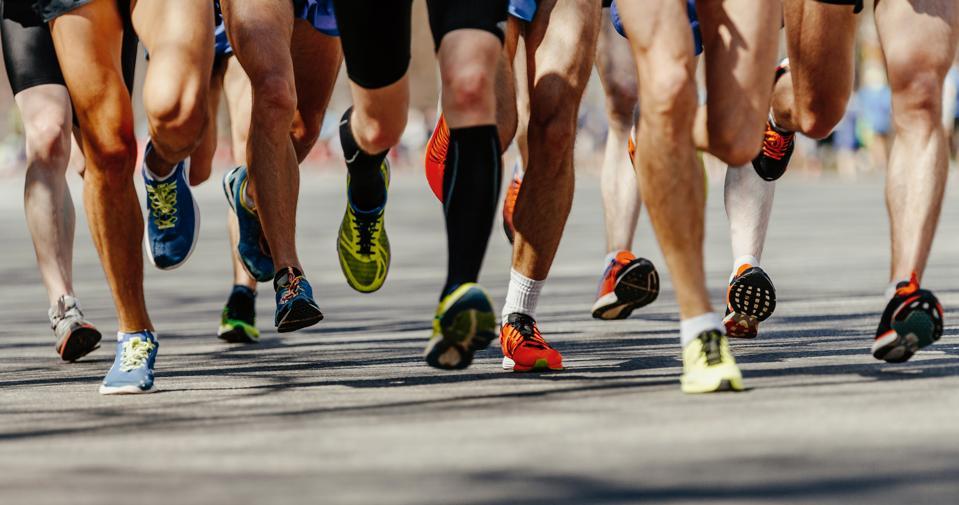 Marathon runners in a race.