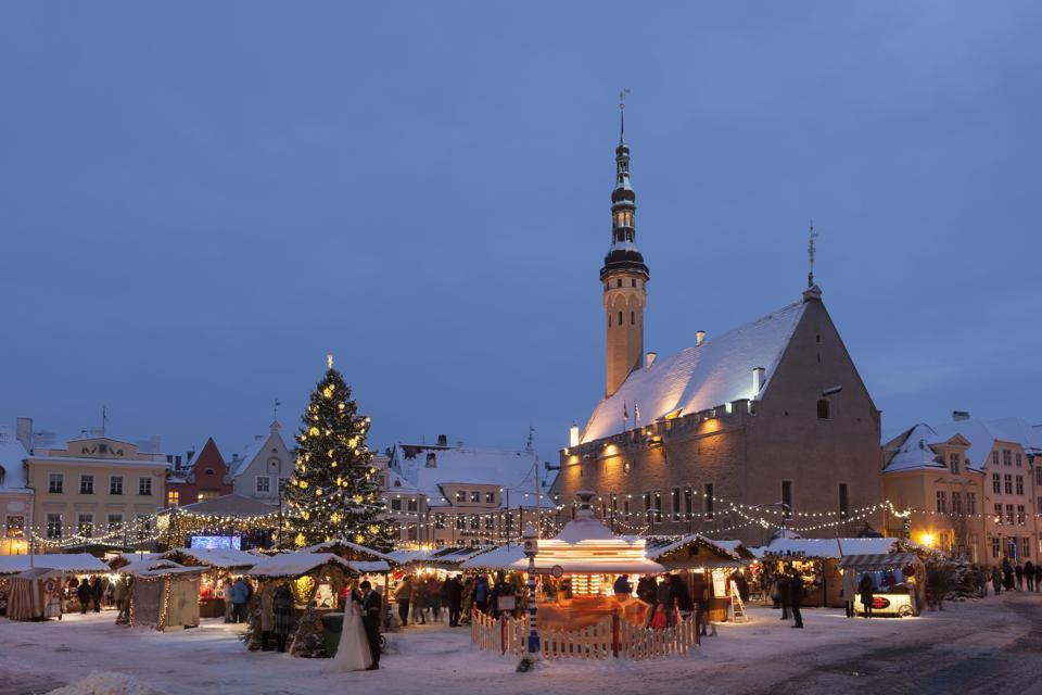 Christmas Market in Tallinn Town Hall Square.