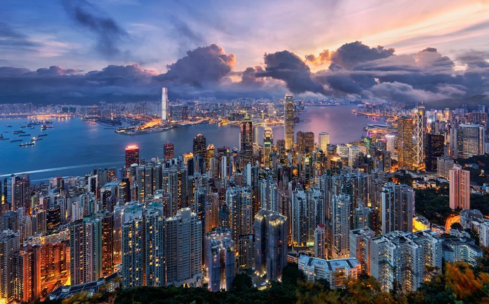 Downtown skyscrapers at sunrise, Hong Kong