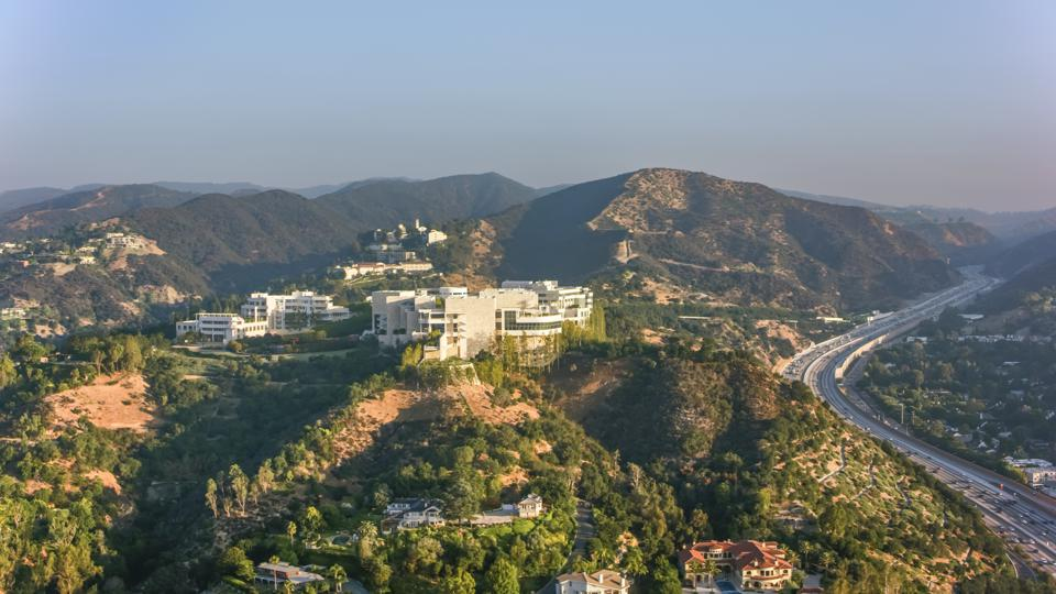 Aerial view of the Getty center in Brentwood, Los Angeles in the morning sun