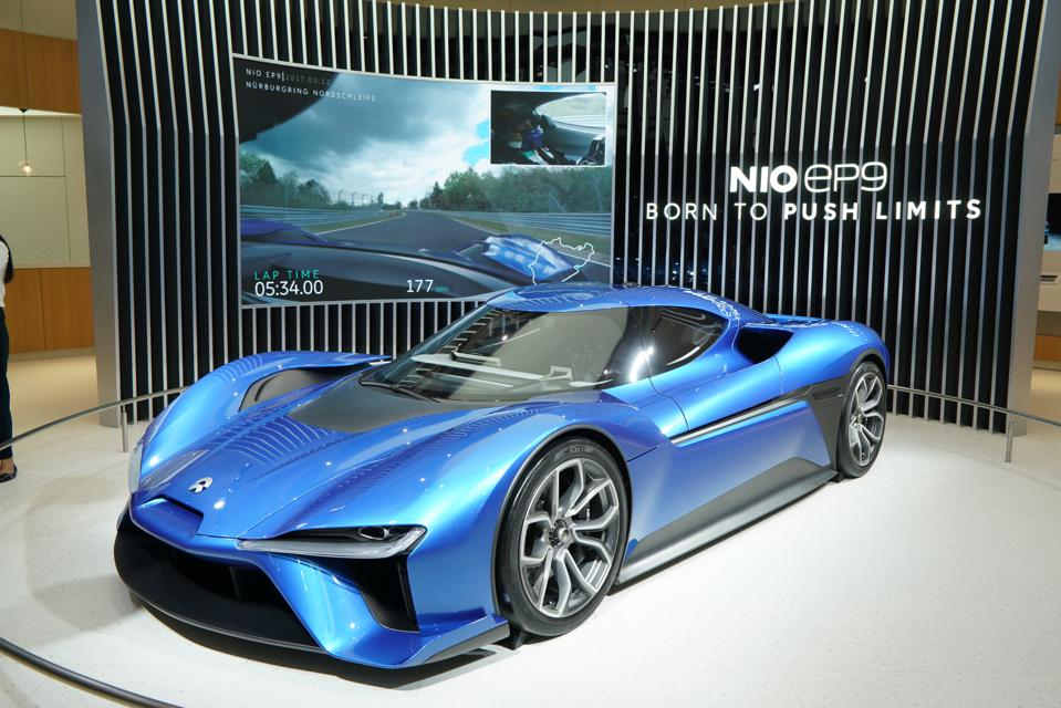 Nio's New Energy Supercar 'EP9' is Showed at Guangzhou International Automobile Exhibition 2018