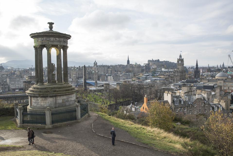 The Dugald Stewart Monument On Calton Hill Edinburgh Scotland