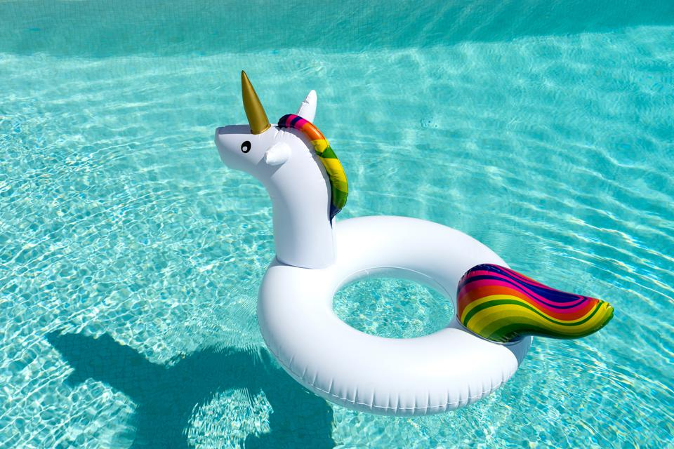 Unicorn inflatable in the pool