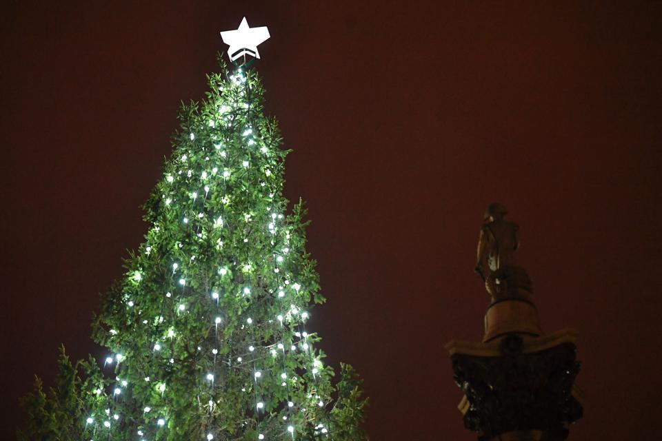 Norway's Christmas tree gift to London standing lit in Trafalgar Square.