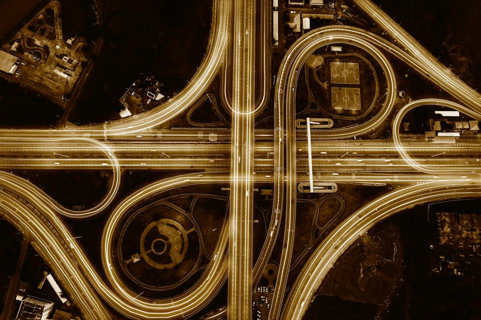 Network and Connection technology concept with Bangkok Expressway top view.