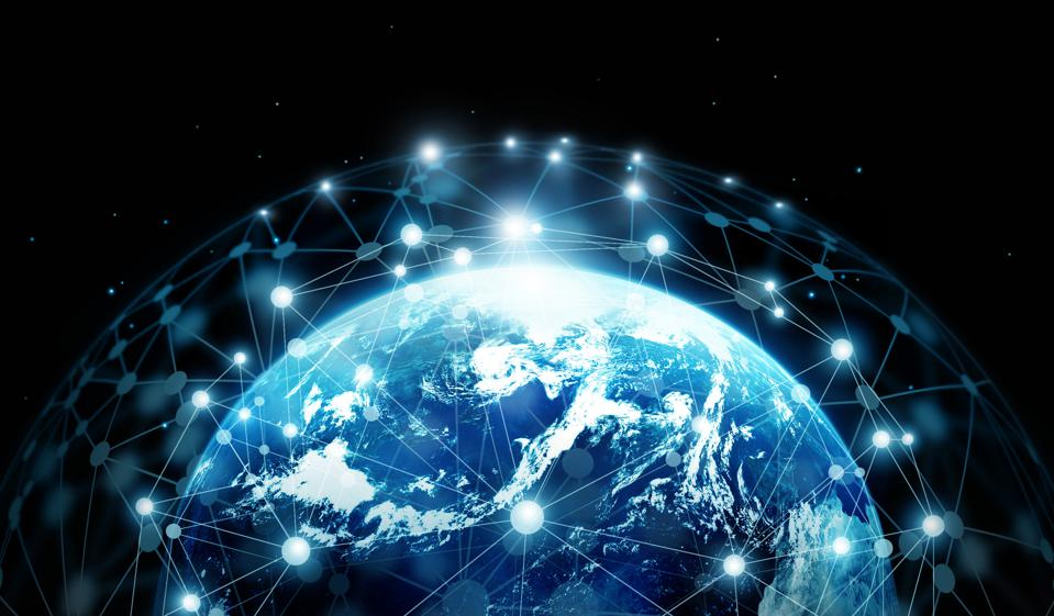 Network connection and global data exchanges on blue planet earth. Elements of this image furnished by NASA