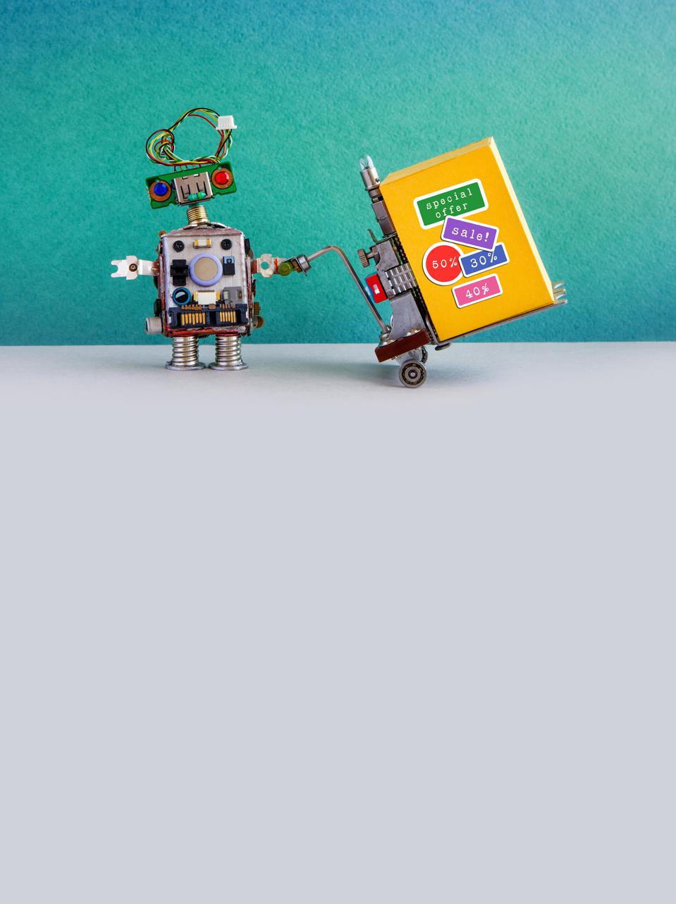 Special sale promotion poster. Comical robot moving shopping cart box with discount advertising stickers. Green gray background, copy space