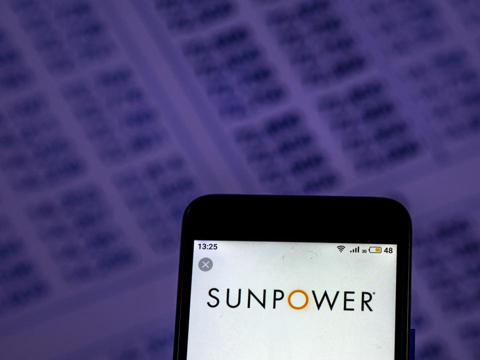 SunPower Solar energy company logo seen displayed on smart