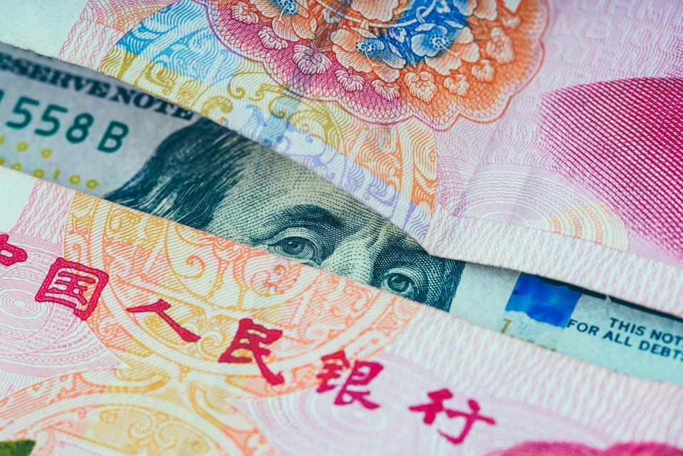 100 US dollar and Chinese Yuan