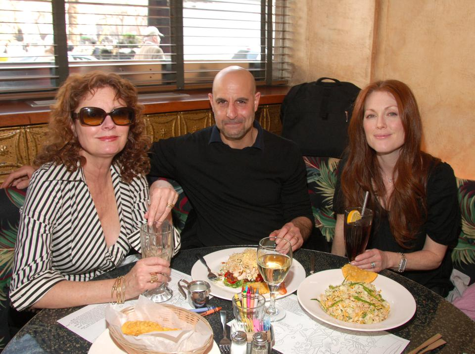 From left to right, Susan Sarandon, Stanley Tucci and Julianne Moore pictured dining at Coffee Shop in 2007.