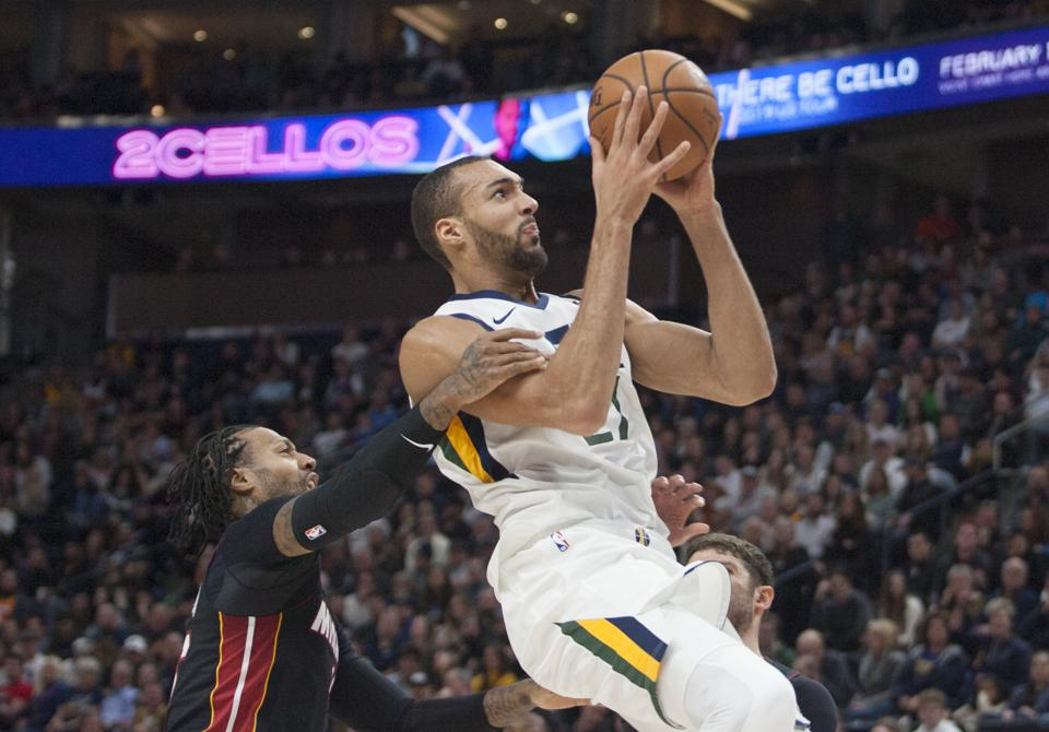 Rudy Gobert of the Utah Jazz shooting through a foul by the Miami Heat on December 12.