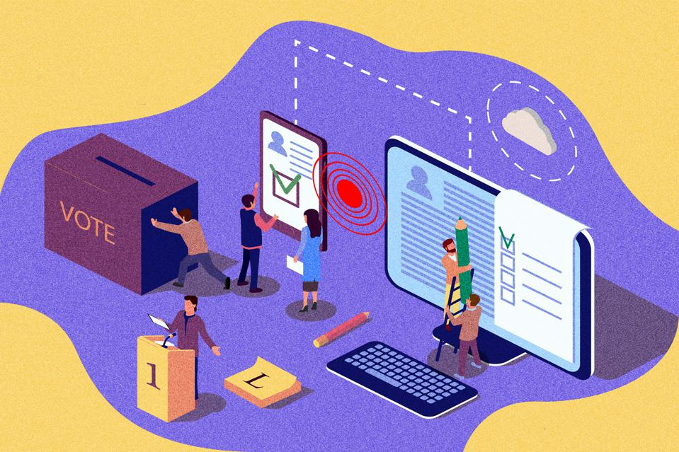 Isometric vintage illustration concept. Group of people give online vote and remove the ballot box. Peolpe use phone for voting. Content for web page, banner, social media, documents, cards, posters, news.