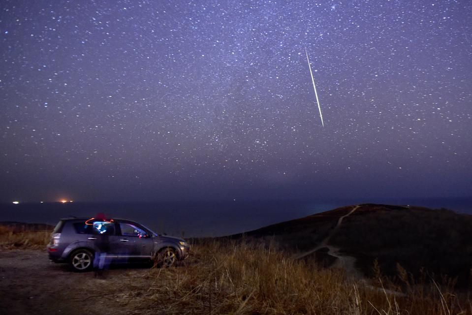 Geminid meteor shower in Vladivostok, Russia