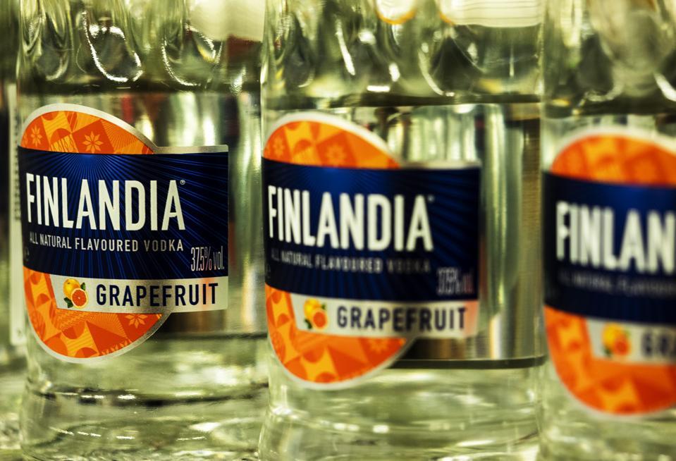 Finlandia graperuit vodka seen in the store...