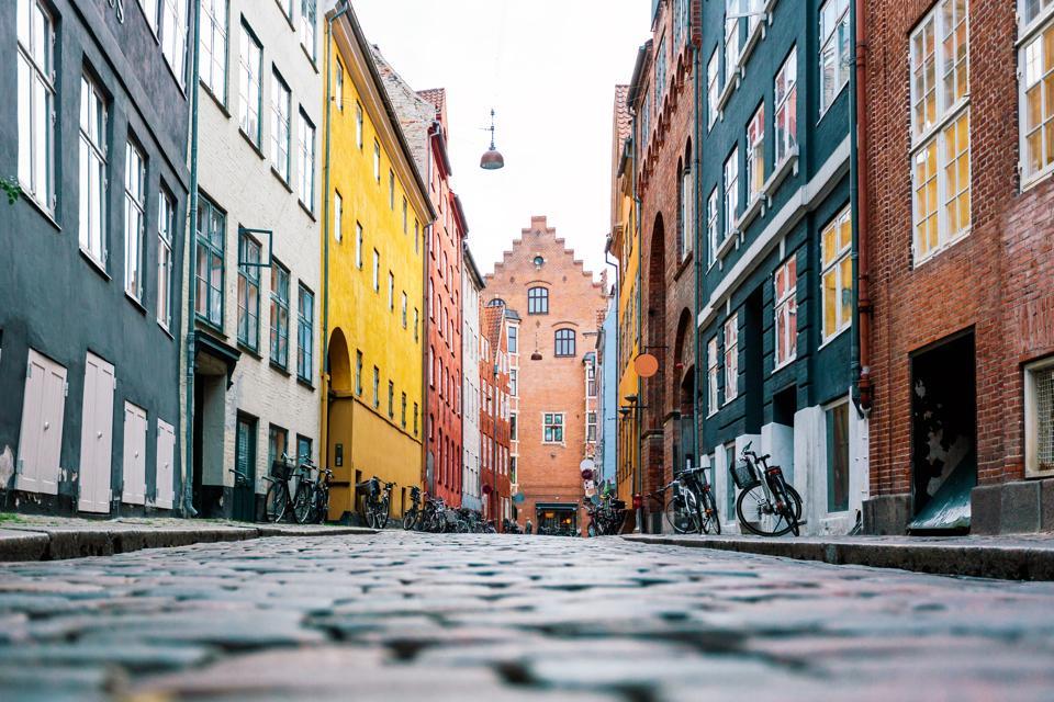 Cobblestone street Copenhagen, Denmark