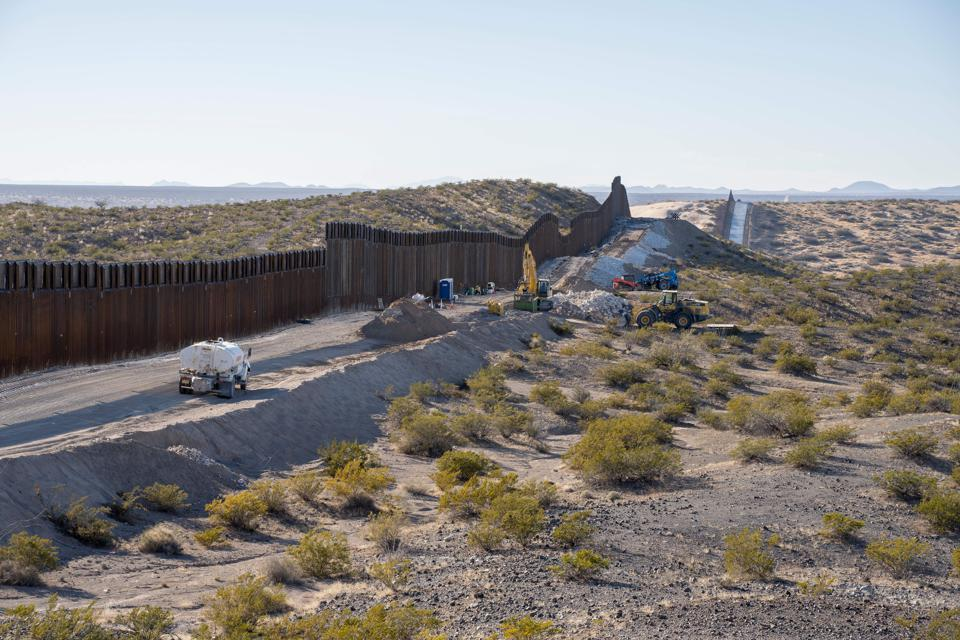 Near Santa Teresa, New Mexico, on December 23 as work continued on replacing 20 miles of old fence with new bollards.