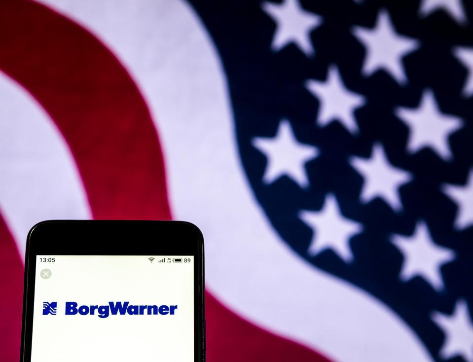 BorgWarner Automotive industry company logo seen displayed