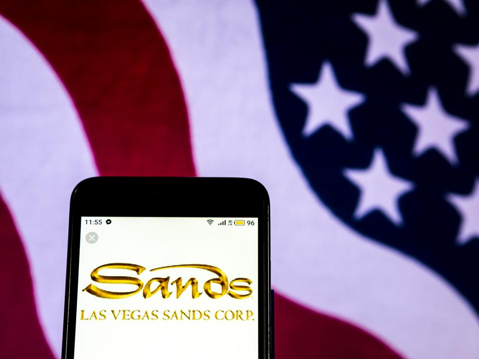 Las Vegas Sands Casino hotel company logo seen displayed on