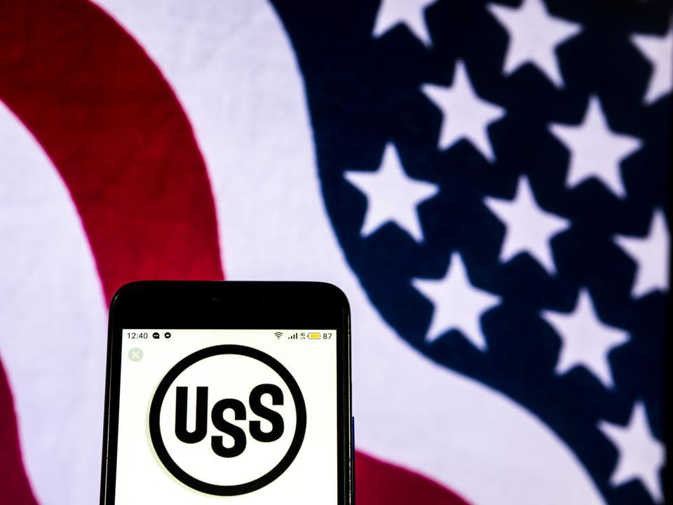 U.S. Steel company  logo seen displayed on a smart phone
