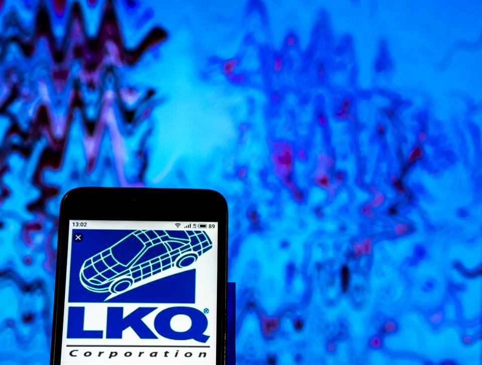 LKQ Corporation logo seen displayed on a smart phone