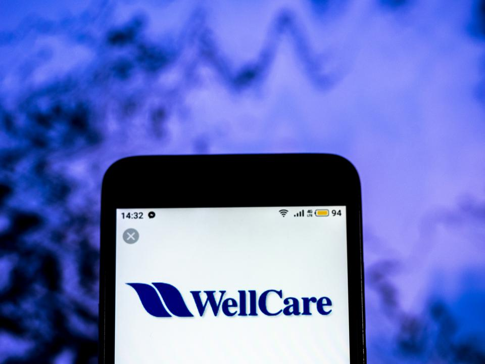 WellCare Health care company logo seen displayed on a smart