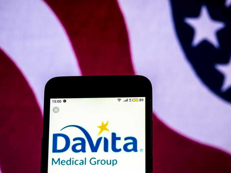 DaVita Healthcare company logo seen displayed on a smart
