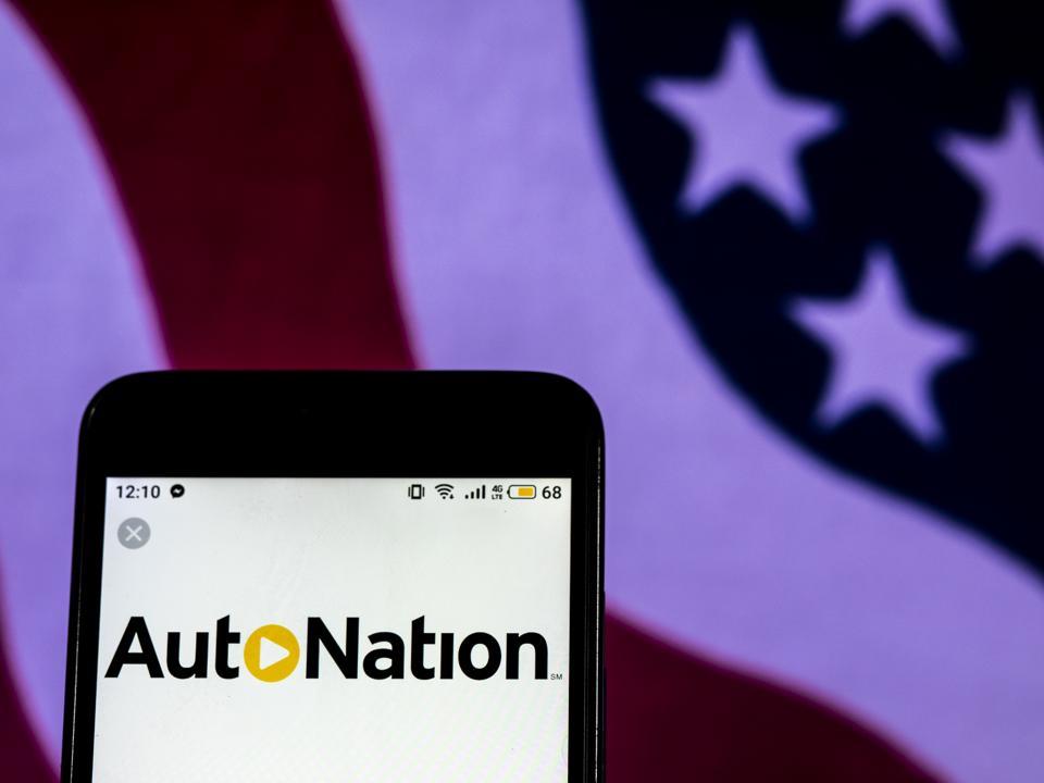 AutoNation Company logo seen displayed on a smart phone