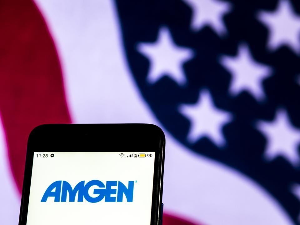 Amgen Biotechnology company logo seen displayed on a smart