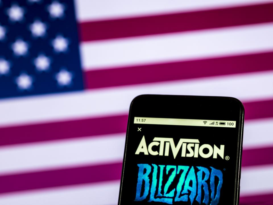 Activision Blizzard Video game company logo seen displayed
