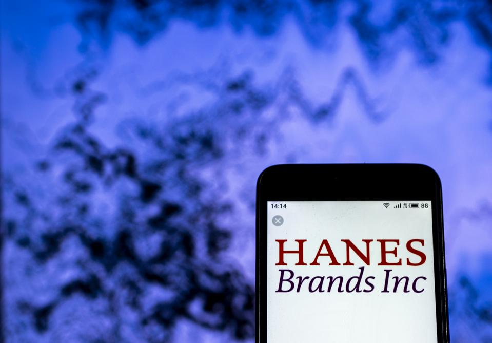 Hanesbrands Clothing company logo seen displayed on a smart