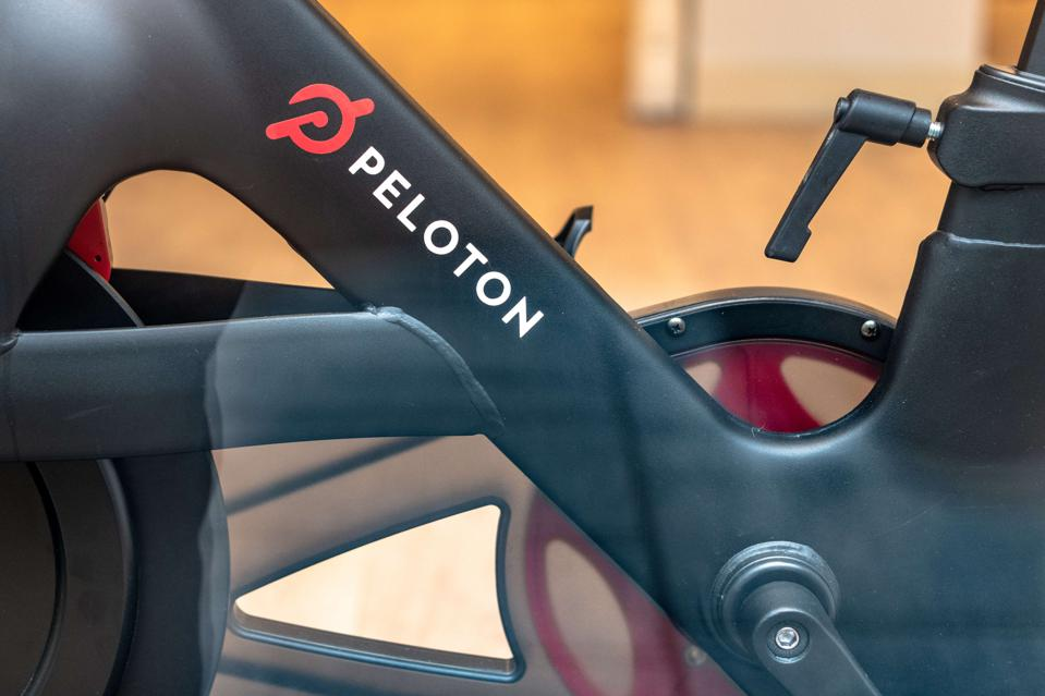 Part of a 'Peloton' gym bicycle which is in exhibit on a...