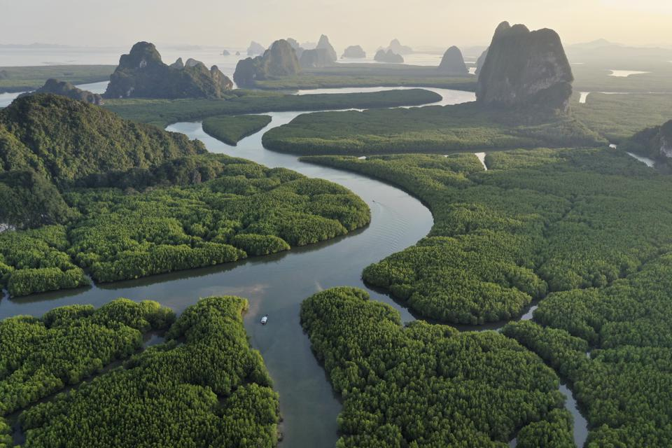 Unseen Thailand : Aerial view of Phang nga bay in the sunset, Thailand