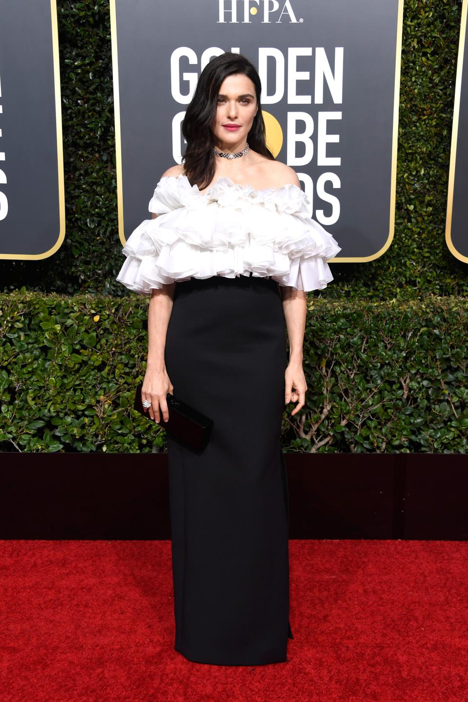 One of The Favourites: Rachel Weisz rocks ruffles on the red carpet.