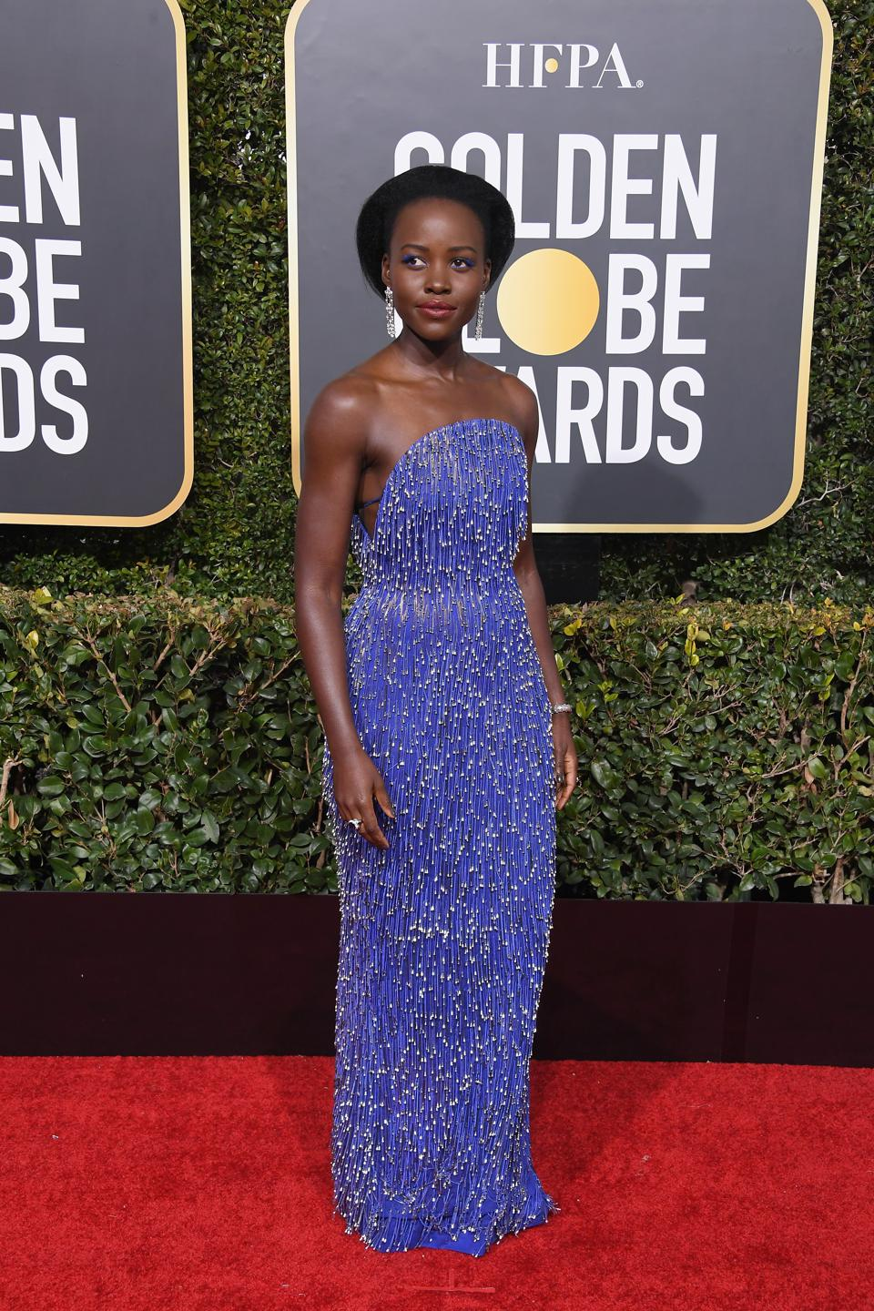 Lupita Nyong'o shimmers in Calvin Klein by Appointment.