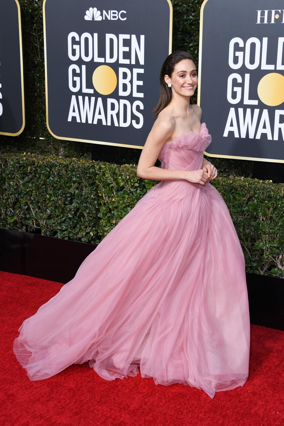 Emmy Rossum appears ethereal in Monique Lhuillier.