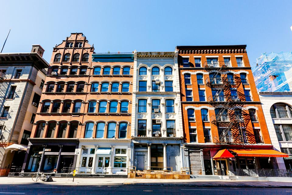 Apartment buildings in Soho neighbourhood, New York City, USA