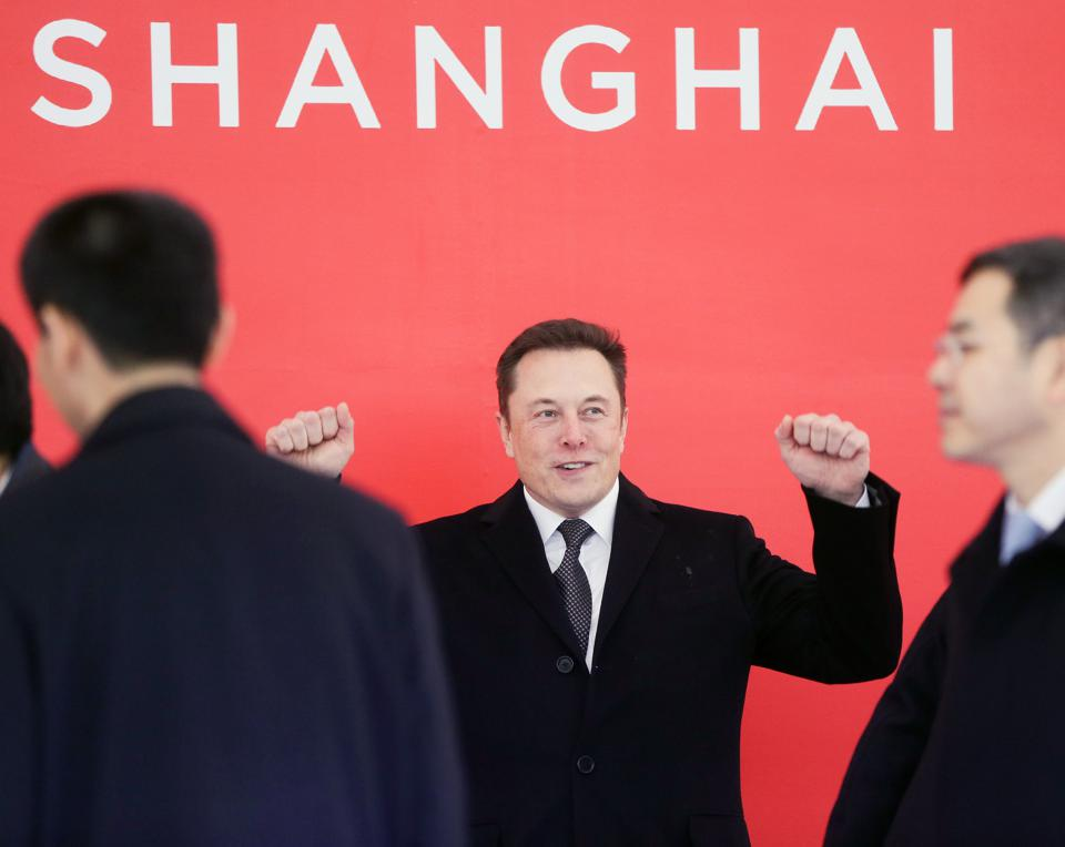 Tesla CEO Elon Musk attends the groundbreaking ceremony of the Tesla Shanghai Gigafactory in Shanghai, on January 7, 2019.
