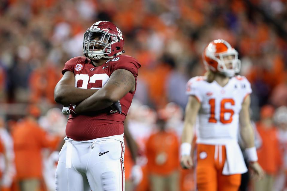 Alabama's Quinnen Williams in the national championship game against Clemson on January 7.