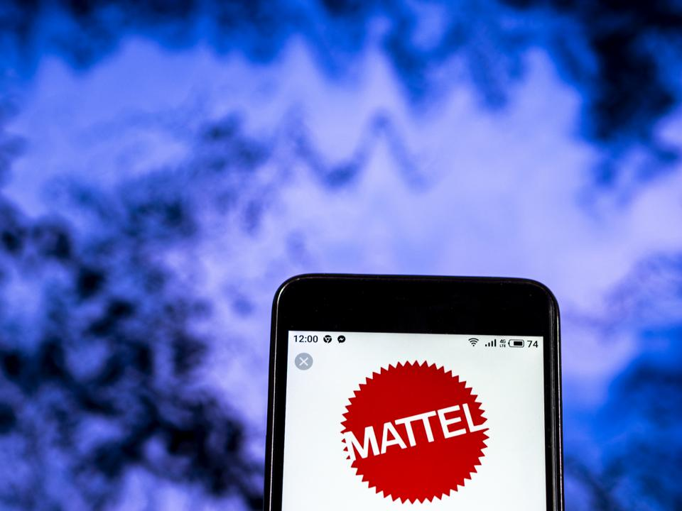 Mattel Toy company logo seen displayed on a smart phone