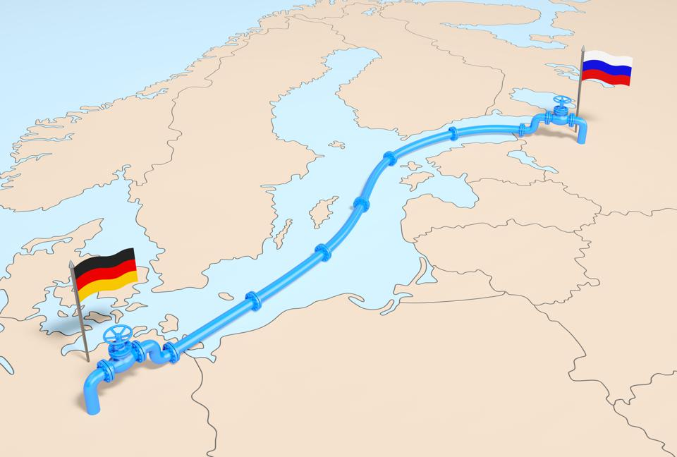 Nord stream 2. Natural gas pipe line with gas valves on the Europe map with flags of Germany and Russia