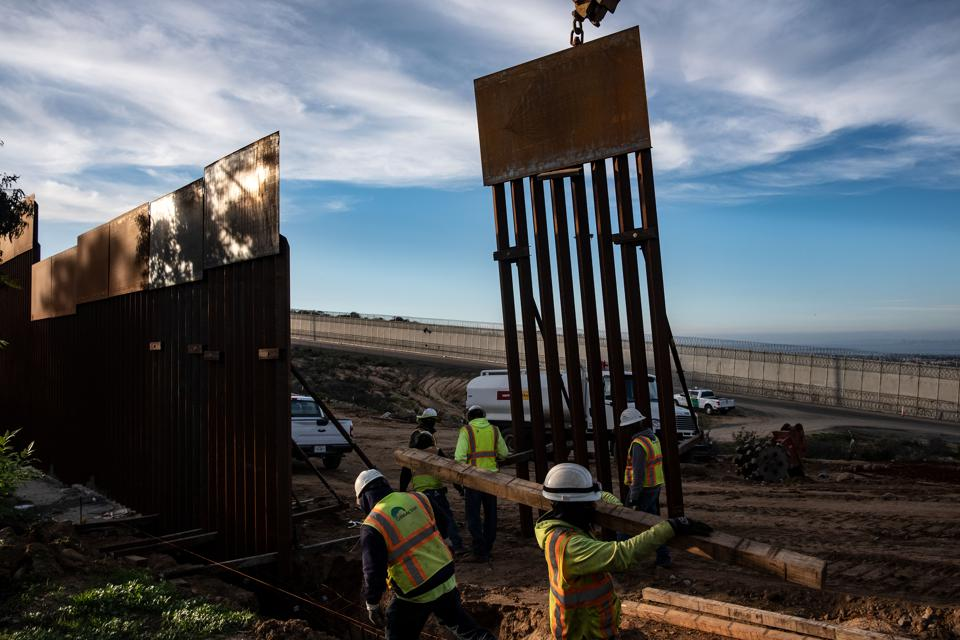 Replacement border fence under construction in early January 2019, near San Diego, Calif.