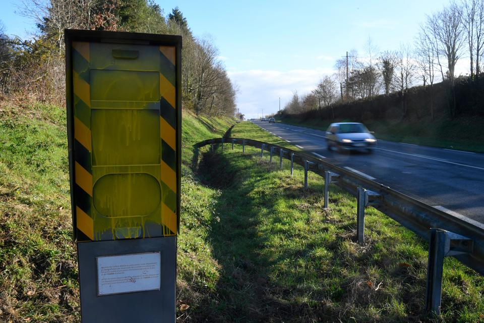 Vandalized speed radar in France