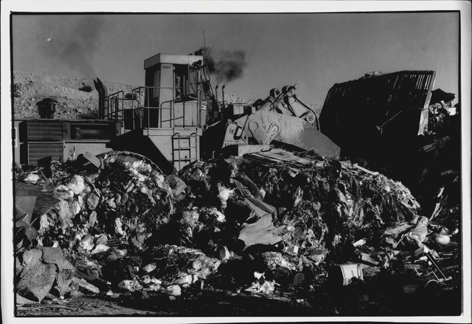 Domestic garbage being bulldozed at the tip out at Lucas Heights.A bulldozer tackles yet another mountain of garbage at Lucas Heights.Modern Australians have a proud record of breeding vast colonies of seagulls.But that is about the only positive side to