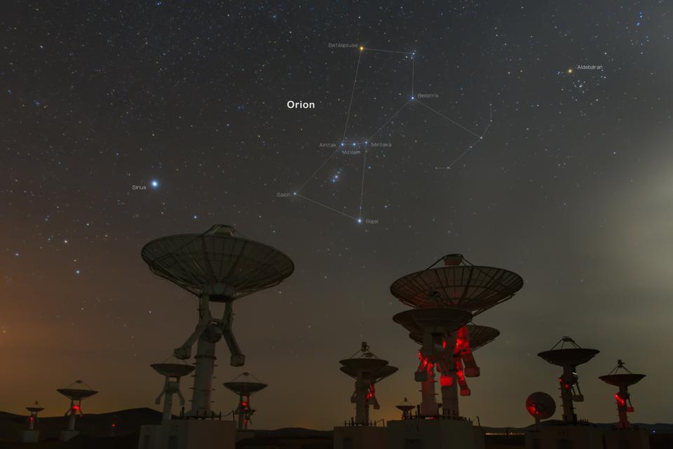 Satellite antenna array under Sirius and Orion's Belt.