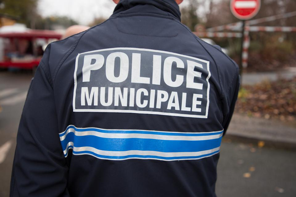 view of french policeman police municipal means local police in french