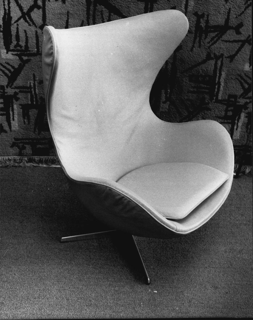 Arne Jacobsen's Egg chair in buff leather, designed in 1958. From Design & Decoration ($3,500).