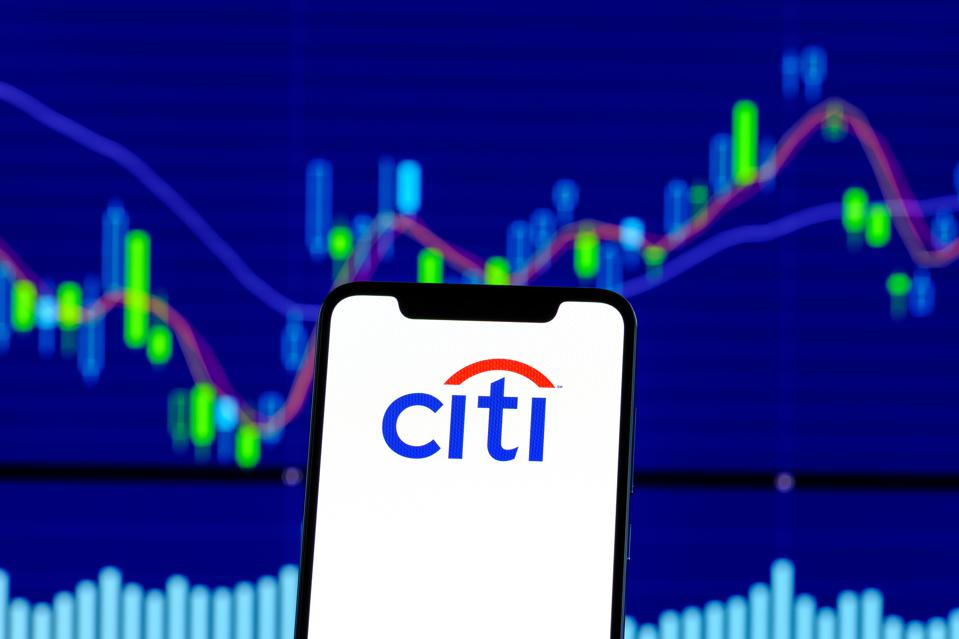 Citibank logo is seen on an android smartphone over stock