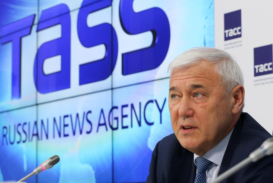 Aksakov, chairman of Russian State Duma's Financial Market Committee, gives press conference