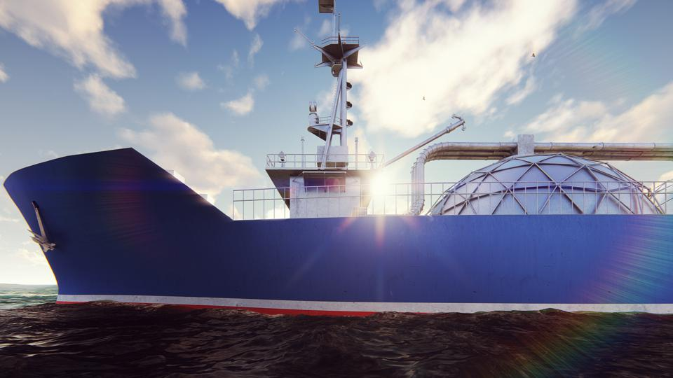 LNG tanker floating in the ocean at sunrise. 3D Rendering