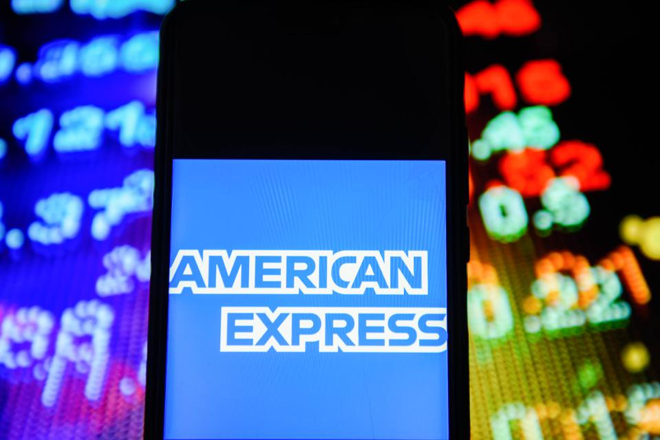 American Express logo is seen on an android mobile phone